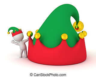 3D Character with Elf Hat waving from behind large elf hat
