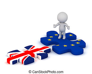 3D Character with European Union Puzzle Piece and British Flag Puzzle Piece