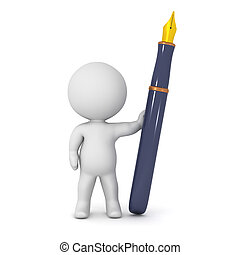 3D Character with Fountain Pen - A 3D character and a large...