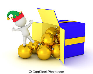 3D Character with Gift Box and Globes