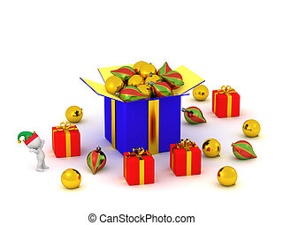 3D Character with Gift Boxes and Globes