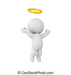3D Character with golden halo ascending to heaven