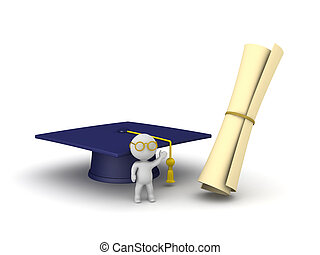 3D Character with Graduation Hat and Diploma