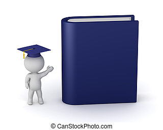 3D Character with Graduation Hat Showing a Large Book