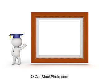 3D Character with Graduation Hat Showing Large Diploma Frame