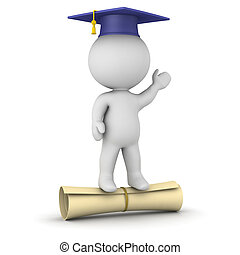 3D Character with Graduation Hat Standing on Large Diploma