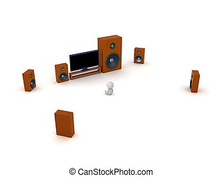 3D Character with HDTV and speakers