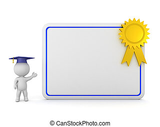 3D Character with Large Diploma
