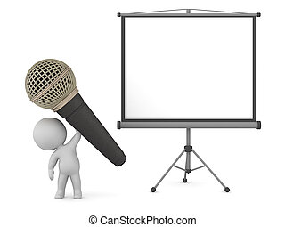 3D Character with Large Microphone and Projector Screen
