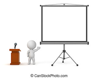 3D Character with Lectern and Projector Screen