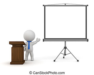 3D Character with Lectern and Projector Screen Holding a Speech