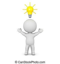 3D Character with Light Bulb Above