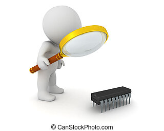 3D Character with Magnifying Glass Looking at a Small Integrated Circuit