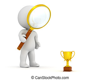 3D Character with Magnifying Glass Looking at Very Small Golden Trophy