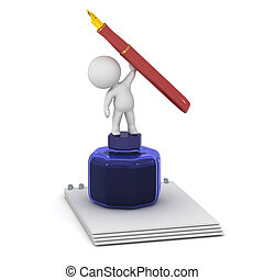 3D Character with Notepad, Ink Pot, and Fountain Pen - 3D...