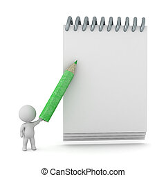 3D Character with Pencil and Notepad
