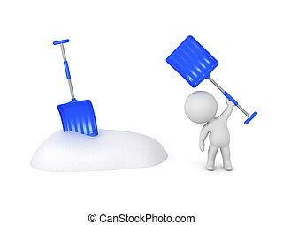 3D Character with Snow Bank and Shovel