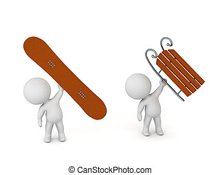 3D Character With Snowboard and Character with Sled