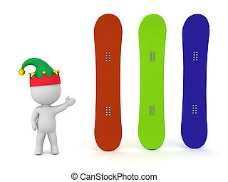 3D Character with Snowboards