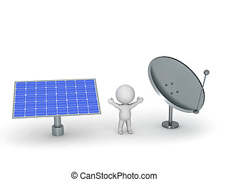 3D Character with Solar Panel and Parabolic Dish Antenna -...