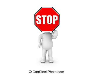 3D Character with stop sign for a head