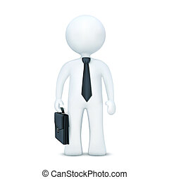 3d character with suitcase and wearing tie standing -...