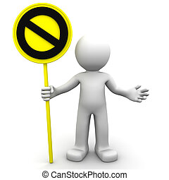 3d character with yellow STOP sign on white background