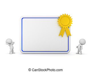 3D Characters and Large Diploma with Gold Ribbon