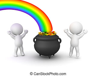 3D Characters are happy next to pot of gold at the end of ...