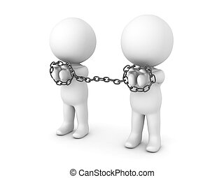 3D Characters being tied to each other with chains