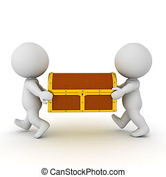 3D Characters carrying together a treasure chests. Isolated...