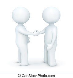 illustration of 3d character hand shaking on an isolated white background