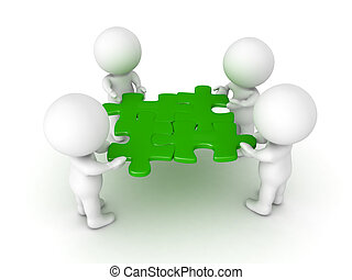 3D Characters holding four green puzzle pieces