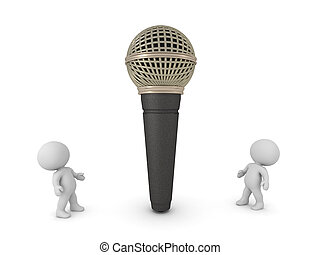 3D Characters Looking up at a Large Microphone
