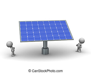 3D Characters Looking Up at Large Solar Panel