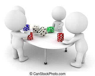 3D Characters playing a gambling game