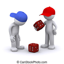 3d characters playing dice. Isolated