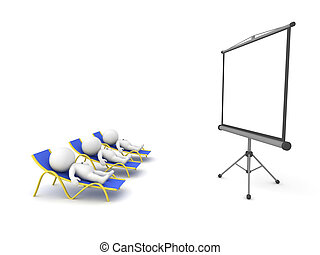 3D Characters Relaxing in Lounge Chairs and Watching a Projection