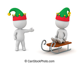 3D Characters with Elf Hats and Sled