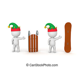 3D Characters with Elf Hats Showing Sled and Snowboard