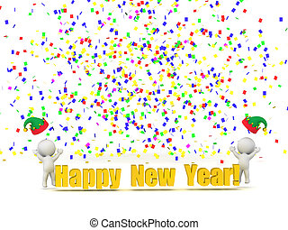 3D Characters with Happy New Year Text and Confetti