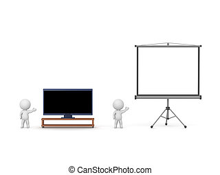 3D Characters with HDTV and Projector Screen