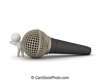 3D Charcter Waving from Behind Large Microphone