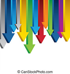 3D Chart arrows border isolated on