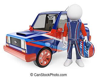 3d, chauffeur, blanc, voiture, gens., sien, courses