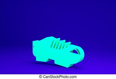 3d, chaussures, concept., icône, bleu vert, sport, minimalisme, cyclisme, chaussures, illustration, shoes., vélo, triathlon, render, arrière-plan., isolé