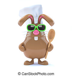 3d Chcolate bunny chef