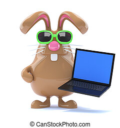 3d Chcolate Easter Bunny has a laptop
