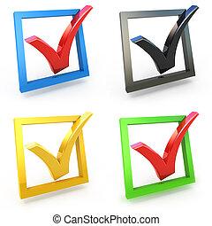 3d check box with check mark set