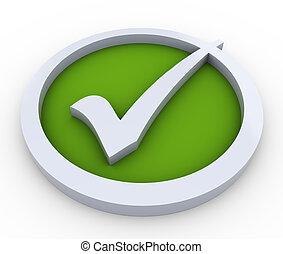 3d check mark symbol - 3d render of check mark symbol on...